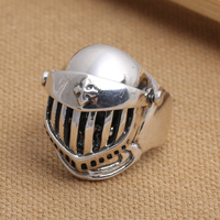 Factory wholesale S925 silver ch G ring silver retro medieval buckler Luoxing skull Knight male ring