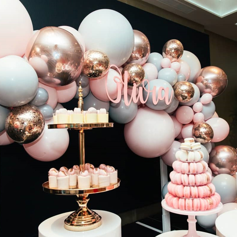 """Image 3 - 323pcs/set Macaron Balloon Arch Garland Kit Double Stuffed 5"""" 18"""" Pink Gray Rose Gold Confetti Balloons Wedding Party Decoration-in Ballons & Accessories from Home & Garden"""