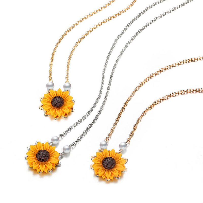 Fashion Sunflower Pendant Long Chain Necklace Charms Imitation Pearl Beads Gold Silver Statement Necklaces for Women Jewelry in Pendant Necklaces from Jewelry Accessories