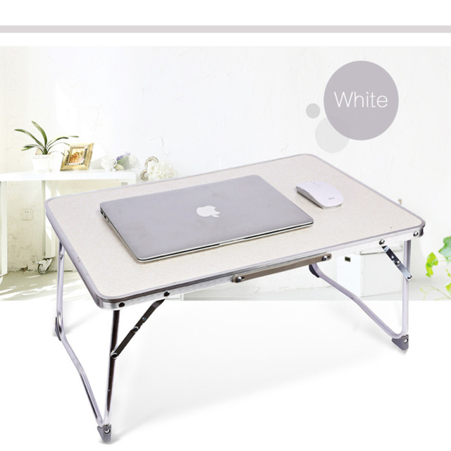 White Folding Computer Desk Multifunctional Light Foldable Table