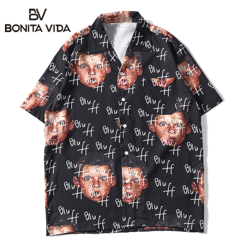 Bonita Vida Harajuku Drôle Hip Hop Chemise Hommes 2019 D'été Plage Hawaïenne Bluff Garçon Plein Impression Casual Male Chemise Streetwear