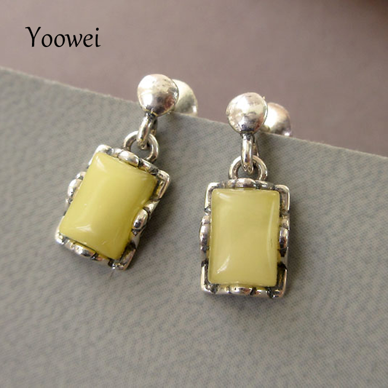 Yoowei 5 Colors Natural Amber Earrings for Women Gifts Rectangle Drop Earring European Chic Design Baltic Genuine Amber Jewelry chic mid waist button design ripped denim shorts for women