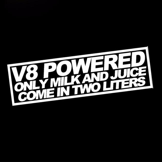 Hotmeini 18cmx7 3cm wholesale v8 powered milk juice 2 liter sticker funny race mustang jdm