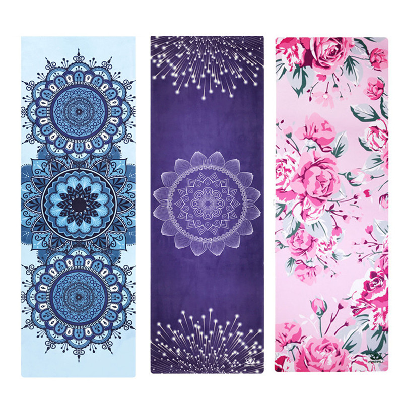 Printed Yoga Mat 1.5mm Natural Rubber Suede Travel Mat Anti Slip Foldable Yoga Pilates Pad Exercise Mats Fitness Workout printed yoga mat travel mat 183 61 0 15cm anti slip foldable yoga pilates pad exercise mats for gym fitness sports dance cover