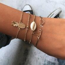 New 4 Pcs/Set Vintage Shell Pineapple Love Letter Bracelt For Women Gold Charm Bracelet Fashion Jewelry Gifts