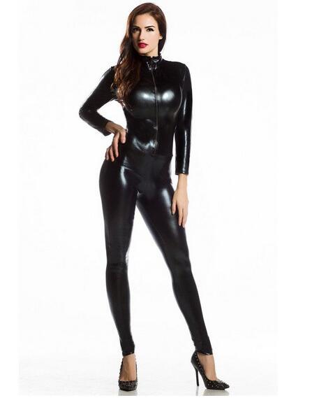 New Sexy Women Shiny Metallic Zentai Costume Black Latex Catsuit Custom Halloween Catwom ...