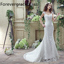Forevergracedress Cheap High Quality Mermaid Wedding Dress Cap Sleeve Sleeveless Lace Long Bridal Gown Plus Size Custom Made