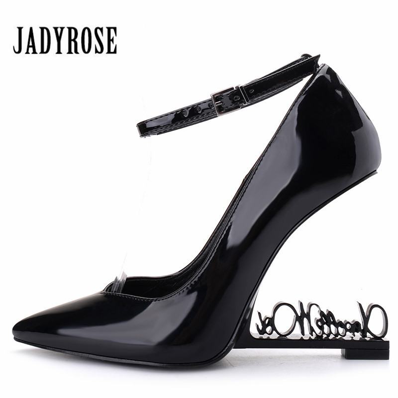 Jady Rose 2019 New Metal Letters Heel Women Pumps Patent Leather High Heels Mary Jane Wedding
