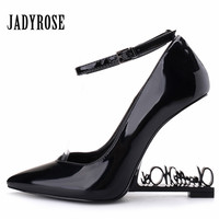 Jady Rose 2019 New Metal Letters Heel Women Pumps Patent Leather High Heels Mary Jane Wedding Dress Shoes Woman Valentine Shoes