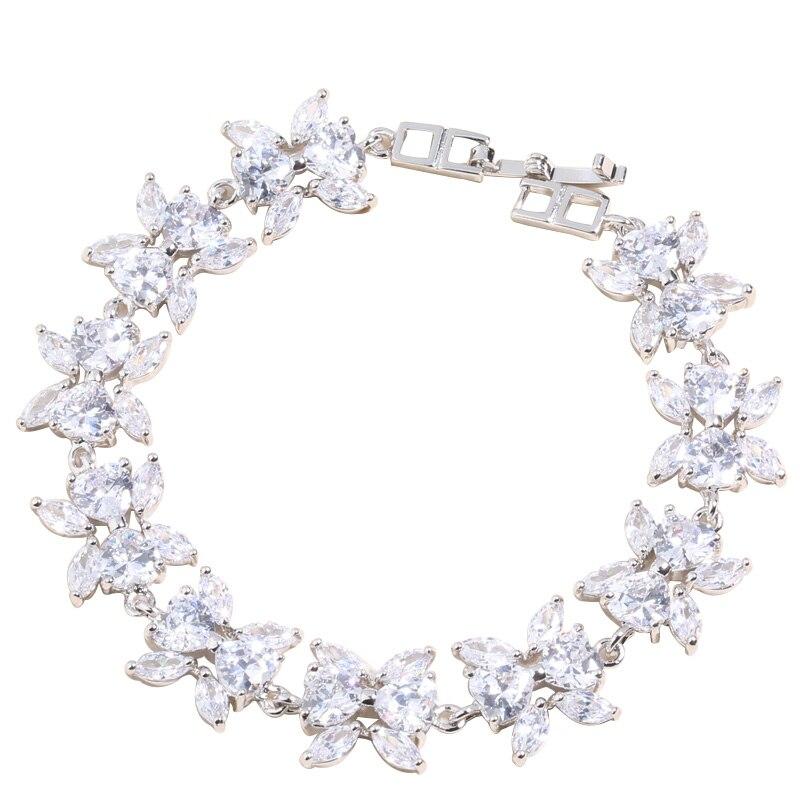 Papillon blanc Zircon 925 argent Sterling pour les femmes lien chaîne Bracelet 6.5-7.5 pouces L20011