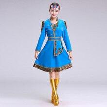 Mongolian&Tibetan Woman Dance clothing Stage Performance dress for singers Girl Mongolian Dance Costume Minority folk Dance Wear