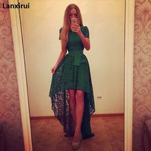 Summer Dress Evening Elegant Dress Ladies Prom Lace Dresses Maxi Front Short Back Long Fancy Vestidos Women Party Sexy Dress tight lace fitted maxi prom evening dress