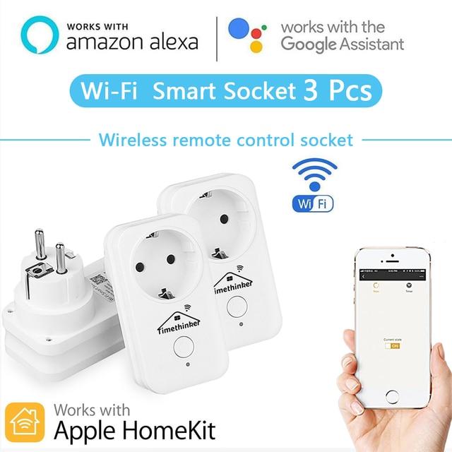 Smart Home WiFi Switch enchufe inteligente enchufe para Apple Homekit Siri Alexa Google Home APP Control remoto temporizador 3 piezas