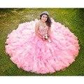 Vestido De quinceañera 2016 Bola De novia sin mangas que rebordea baile Vestido rosa De quinceañera vestidos del dulce 16 vestidos princesa