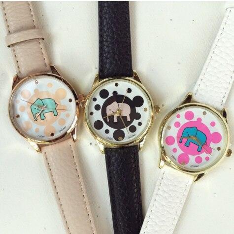 Japan quartz movement vogue elephant print watch fashion geneva watch for women