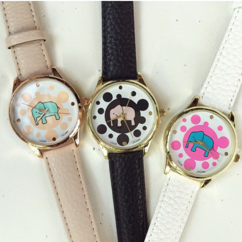 Japan quartz movement vogue elephant print watch fashion geneva watch for women