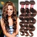 Brasileira Onda Do Corpo Do Cabelo Virgem 3 peças feixes tecer Mink Brasileira onda do corpo #4 Castanho claro cor 100% humano cabelo
