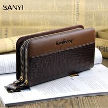 2016 Clutch Bag Men Wallets Black Brown Luxury Large Capacity Gift for Male Double Zipper Long Wallet Handbag Purse