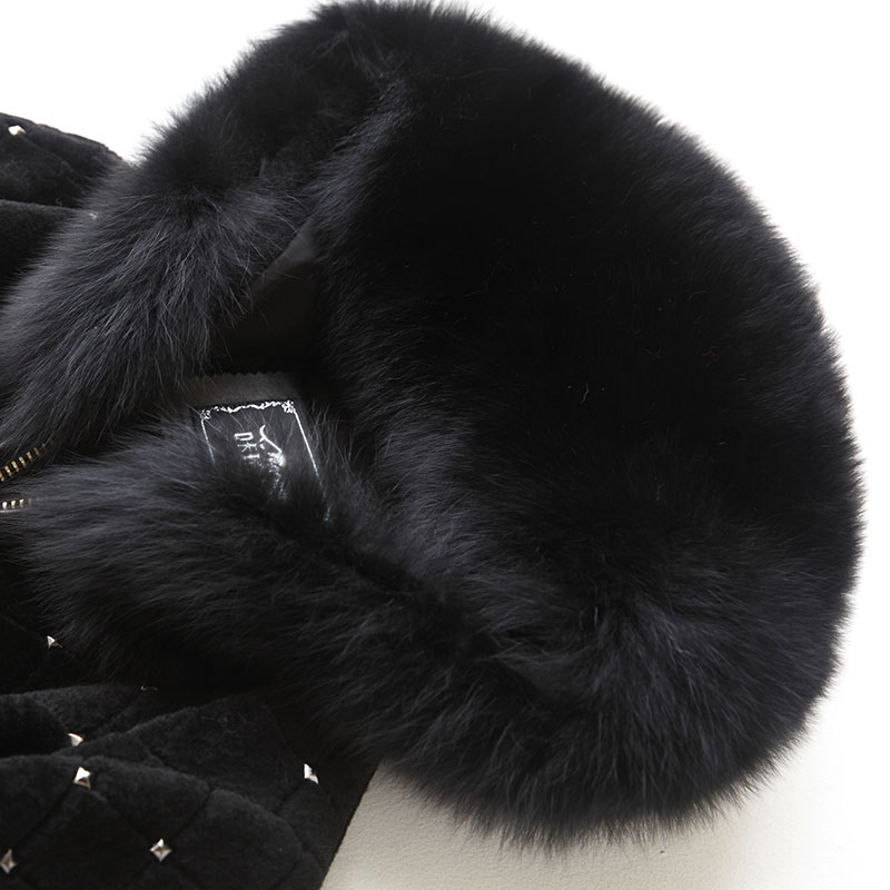 Mujer Automne Abrigo De Veste Femmes Nouveau Manteau Élégant Mince Vraie À rose Z775 Noir Hiver Fourrure Renard Clothes100 Capuchon Laine atBxqSAw