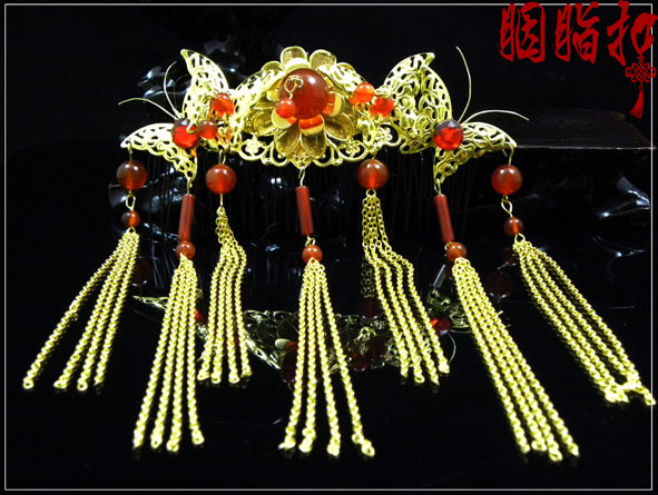 Dian Tan Chun Classical agate beading  bride hair jewelry handmade hair accessories full set new top grade gift pure tan wooden type h chun tan mu shu h kuan