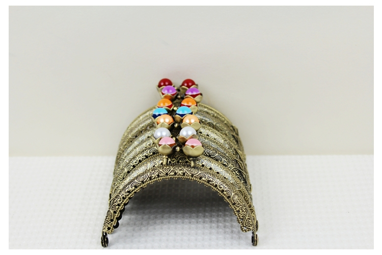 Obedient 26pcs/lot Semicircle 8.5cm Lovely Lotus Pearl Candy Bead Bronze Thicken Metal Purse Frame Kiss Clasp 13 Colors Freeshipping Bag Parts & Accessories