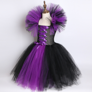 Image 4 - Maleficent Evil Queen Girls Tutu Dress with Horns Halloween Cosplay Witch Costume for Girls Kids Party Dress Children Clothing