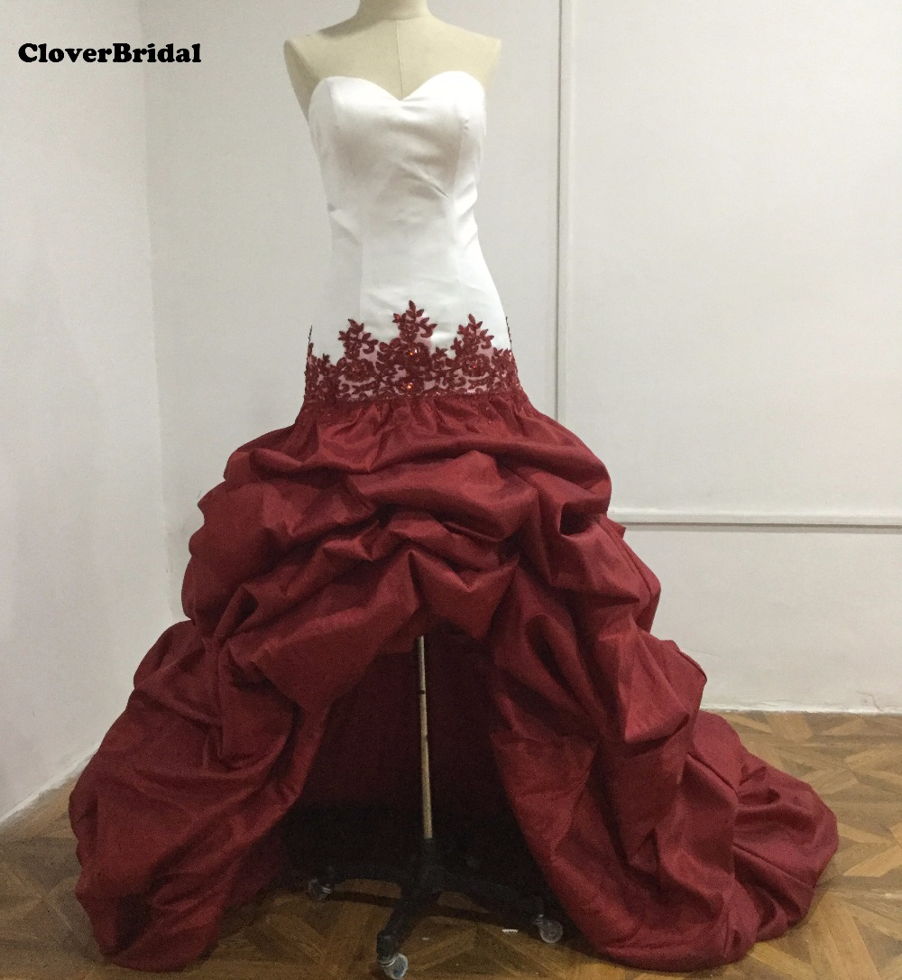 Taffeta sweetheart white burgundy high low wedding dresses with train pick ups puffy skirt