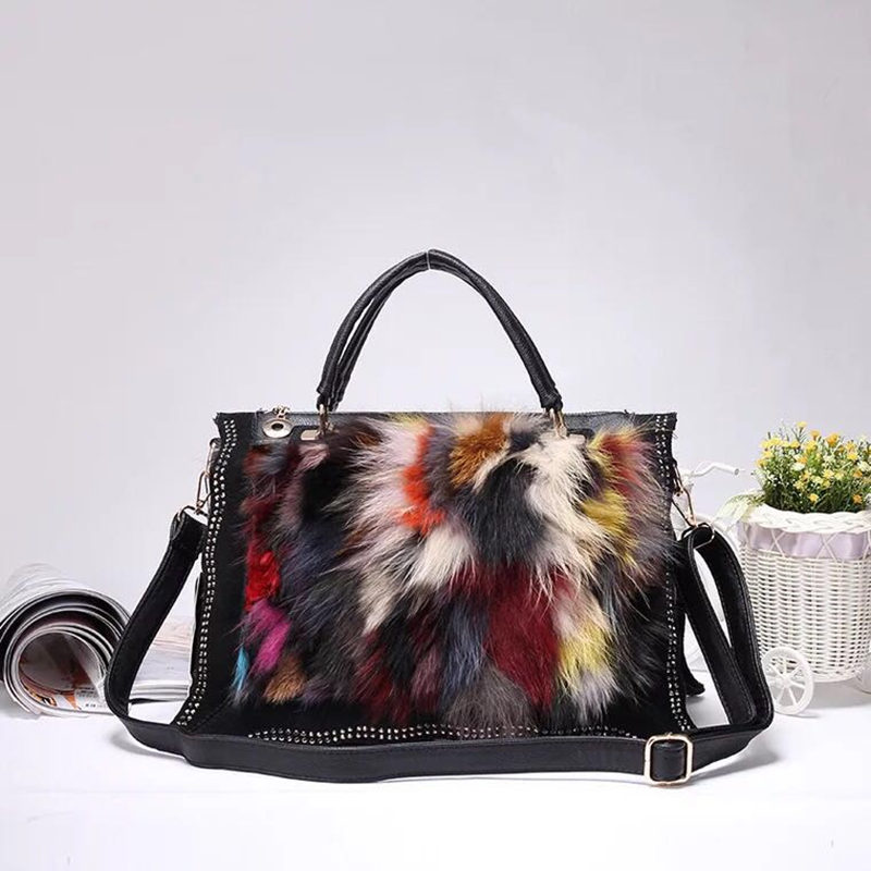 New Fashion Design Leather Fur Soft Real Leather Women Handbag Two Pieces Female Shoulder Bag Girls Messenger Bag Casual Women B