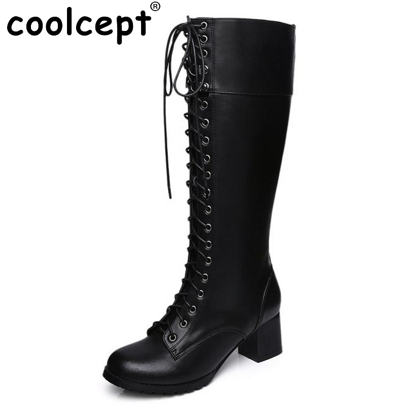 ФОТО Sexy Women Real Leather Knee High Boots Square High Heels Shoes Fashion Zipper Winter Snow Riding Boots Women Shoes Size 33-42