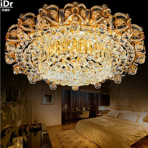 Image 2 - 2016 nova lâmpada de cristal led redondo sala estar lobby elegante restaurante atmosfera quarto villa ouro luzes teto dia1000mm