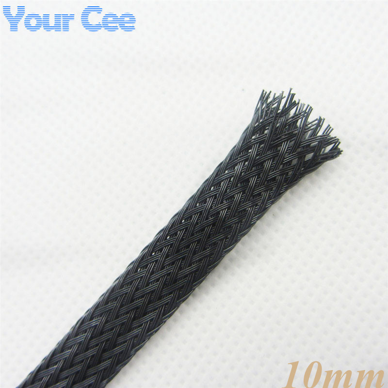 1M Sheathing Auto Wire Harnessing Nylon Braided Cable Sleeving 10MM Black