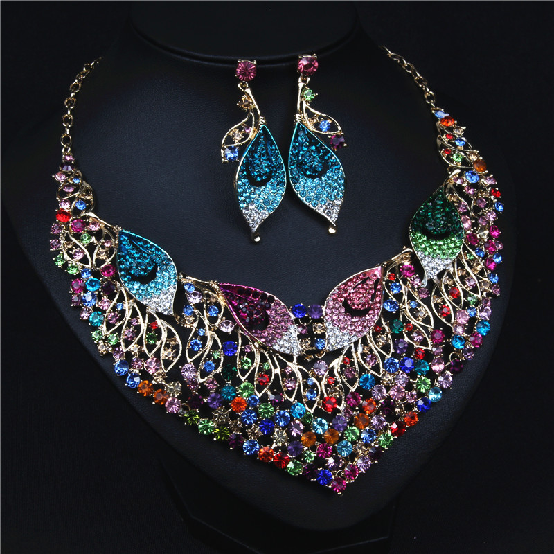 ASNORA New Arrivals Jewelry Set for Women Shiny Colorful Crystals Necklace and Drop Earrings for Evening Party Jewelry a suit of chic blossom necklace and earrings jewelry for women