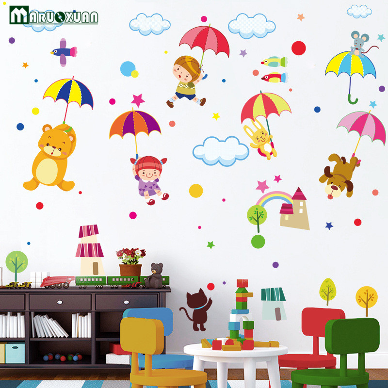Maruoxuan Large Size Cute Umbrella Wall Stickers Decal Kids Adhesive Vinyl Wallpaper Mural Baby Girl Boy Room Nursery Decor