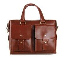 Vintage Genuine Leather Bag Men Messenger Bags Cow Leather Briefcase Cowhide Portfolios Shoulder Bags 14″ Laptop Bag #VP-J7001