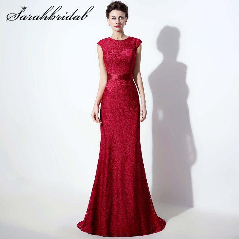 Нова гореща секси дълго русалка вечерна рокля 2019 червена дантела елегантна официално вечерни рокли халат де soiree LX018