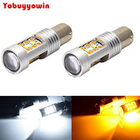 2Pcs Lot High Power 1157 Dual Color Switchback 28 SMD LED Turn Signal Bulbs White Amber
