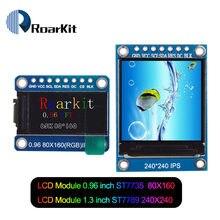 Tela tft lcd de 0.96 / 1.3 polegadas, ips 7p spi hd 65k módulo de cor completa lcd st7735 drive ic 80*160 (não oled) para arduino