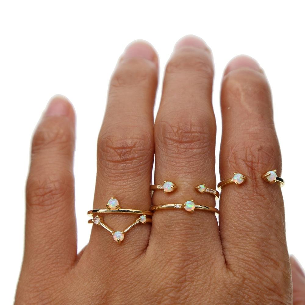 Anillos de dedo de piedra ópalo Simple color oro blanco fuego ópalos alta calidad apilamiento nudillo MIDI anillo 5 6 7