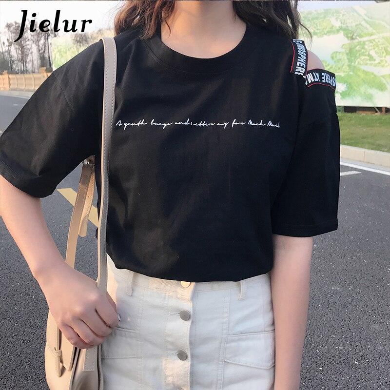 99bfde5d15f77b Jielur T Shirt Women Letters Hole Short Sleeve Harajuku Summer Top Femme  Loose Hollow Kawaii Girl