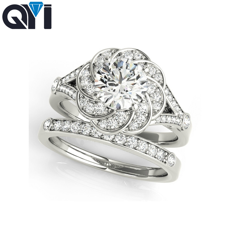 QYI Women 925 Sterling Silver Ring Sets Flower Design Bridal Jewelry   Round Cut Simulated Diamond Engagement Wedding RingsQYI Women 925 Sterling Silver Ring Sets Flower Design Bridal Jewelry   Round Cut Simulated Diamond Engagement Wedding Rings