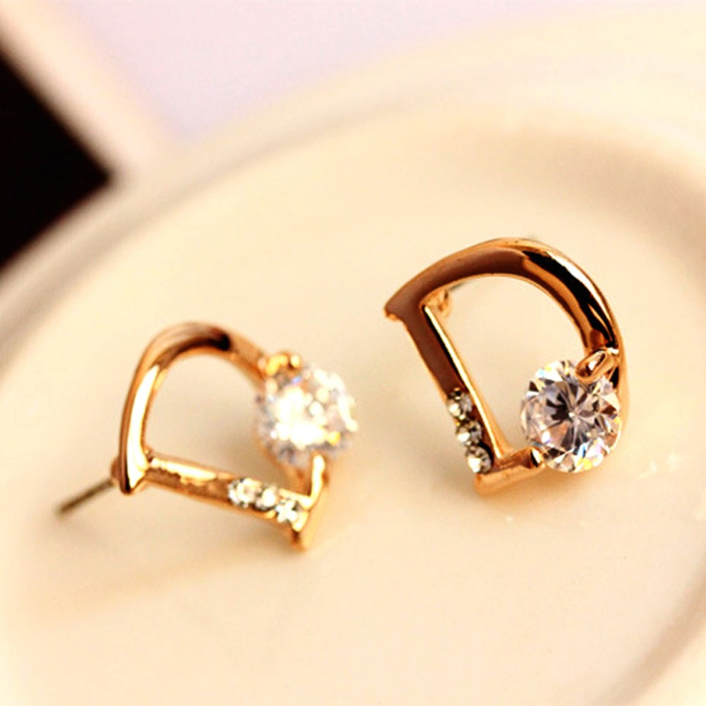 50 pair gold Earring jewelry new Cubic Zircon D Design Stud ...