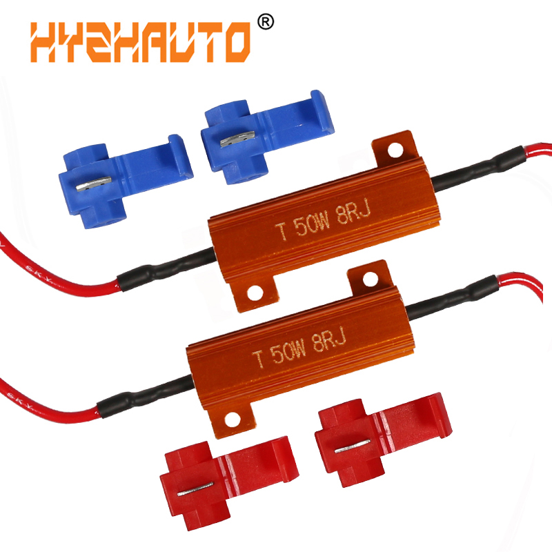 HYZHAUTO 2Pcs 50W 8ohm 6ohm Car LED Decoder Resistor For 1156 P21W PY21W T20 W21W P27W LED Canbus Load Resistor No Error