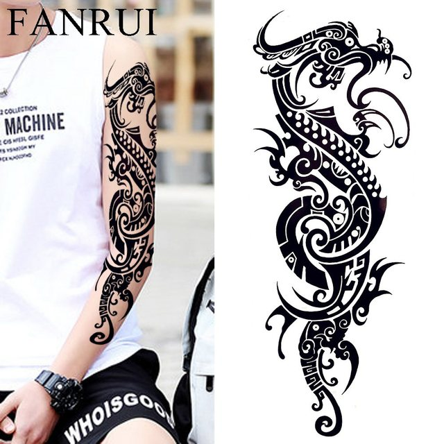 Cool Chinese Dragon Myth Waterproof Tattoo Men Full Shoulder Body Arm Temporary  Tattoo Sticker Women Makeup Large Tatoo Paste 486f4640c