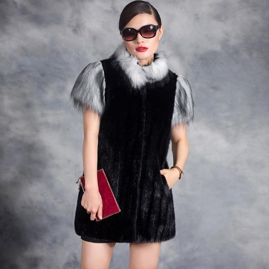 Vison Clobee Faux Femmes 2018 Plus Noir M552 Outwear Fourrure Manteau Hiver Taille Moyen Manteaux De Âge La Haut Veste rap1qBrx