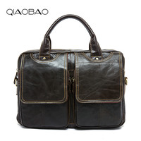 QIAOBAO Top Grade Handmade Mens Real Crazy Horse Leather Briefcase Vintage Style Messenger Shoulder Laptop Bag