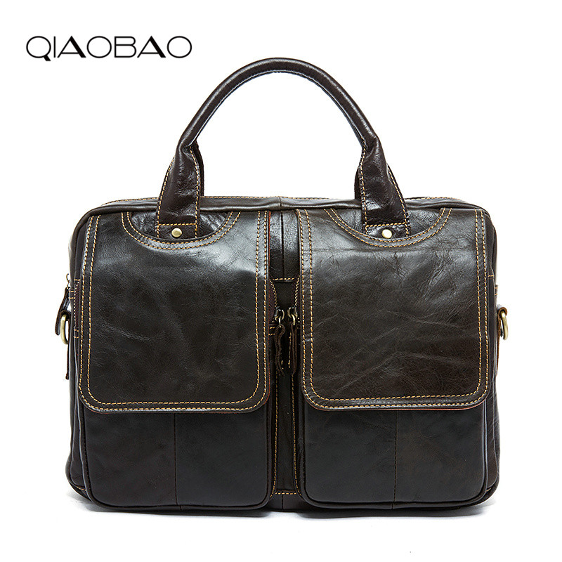 QIAOBAO Top Grade Handmade Mens Real Crazy Horse Leather Briefcase Vintage Style Business Laptop Bag Case