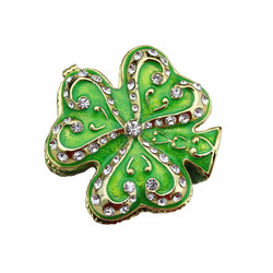 YAFFIL Jewelry Box Green Clover Jewelry Box Crystal Rhinestone Antique Alloy Jewel Case Ring Earring Necklace Box Storage Holder