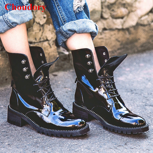 0551cb909dc US $62.79 35% OFF|Western Chic Bella Hadid Outfit Combat Boots 2017 Fashion  Women Shoes Black Patent Leather Lace Up Studded Motorcycle Booties-in ...