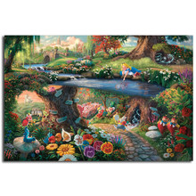 Alice In Wonderland Canvas Painting By Thomas Kinkade Posters Prints Wall Art Picture Modern Home Decoration Kid Christmas Gifts(China)