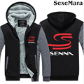 Ayrton Senna da Silva Logo Printed Men Hoodies Coat Fashion Patchwork Hooded Sweatshirt Jacket Zipper Fleece Thick Coat